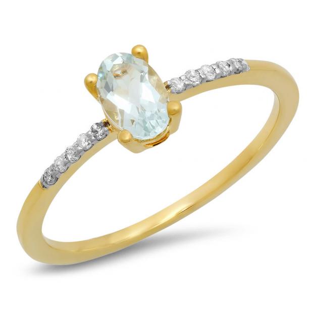 0.50 Carat (ctw) 14K Yellow Gold Oval Cut Aquamarine & Round Cut White Diamond Ladies Bridal Engagement Promise Ring 1/2 CT