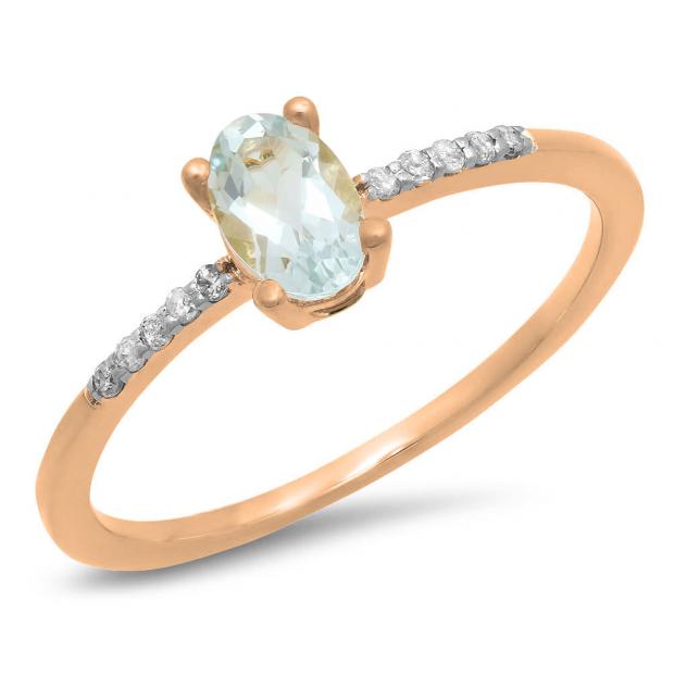 0.50 Carat (ctw) 18K Rose Gold Oval Cut Aquamarine & Round Cut White Diamond Ladies Bridal Engagement Promise Ring 1/2 CT