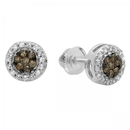 0.30 Carat (ctw) 10K White Gold Round Champagne & White Diamond Ladies Cluster Style Stud Earrings 1/3 CT