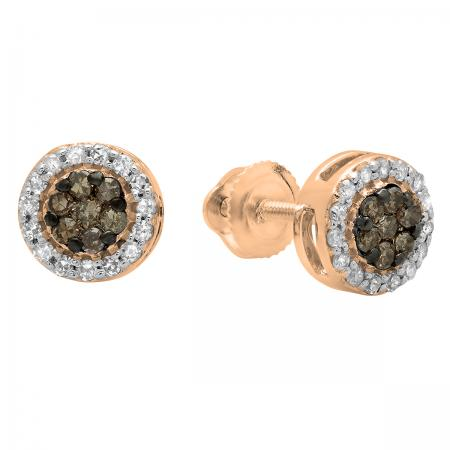 0.30 Carat (ctw) 14K Rose Gold Round Champagne & White Diamond Ladies Cluster Style Stud Earrings 1/3 CT