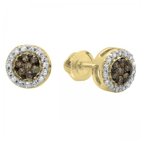 0.30 Carat (ctw) 14K Yellow Gold Round Champagne & White Diamond Ladies Cluster Style Stud Earrings 1/3 CT