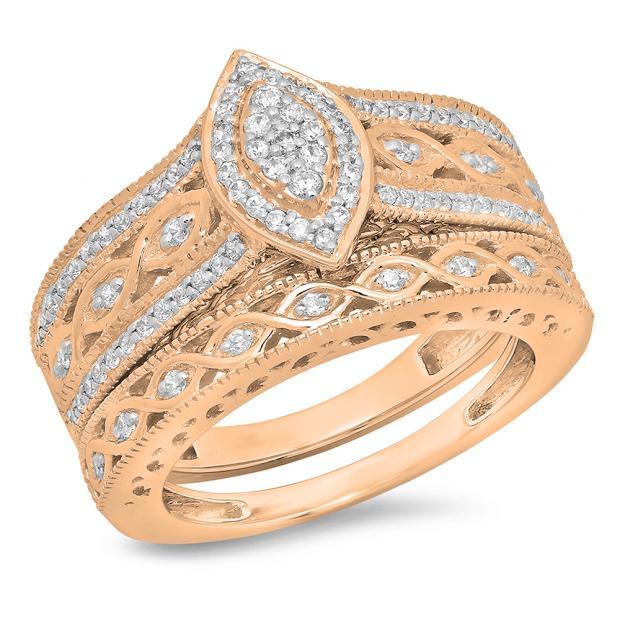 0.90 Carat (ctw) 14K Rose Gold Round Blue Sapphire & White Cubic Zirconia CZ Bridal Engagement Ring Set