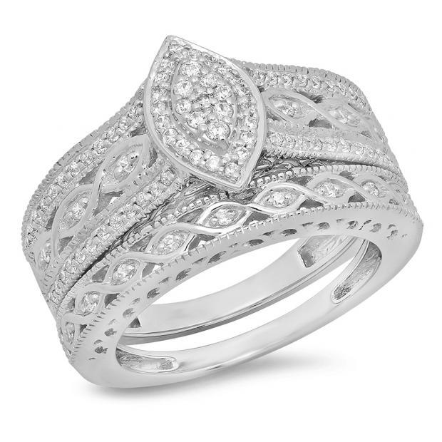 0.90 Carat (ctw) 18K White Gold Round Blue Sapphire & White Cubic Zirconia CZ Bridal Engagement Ring Set