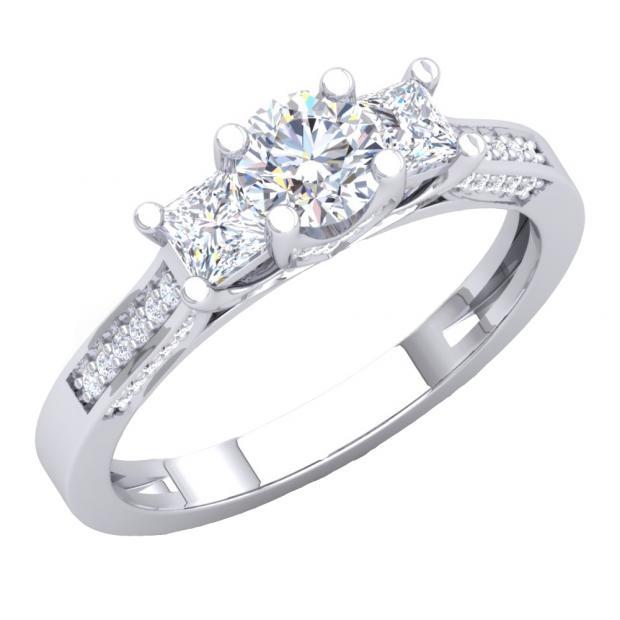 1.10 Carat (ctw) 18K White Gold Princess & Round White Diamond Ladies Bridal 3 Stone Engagement Ring 1 CT
