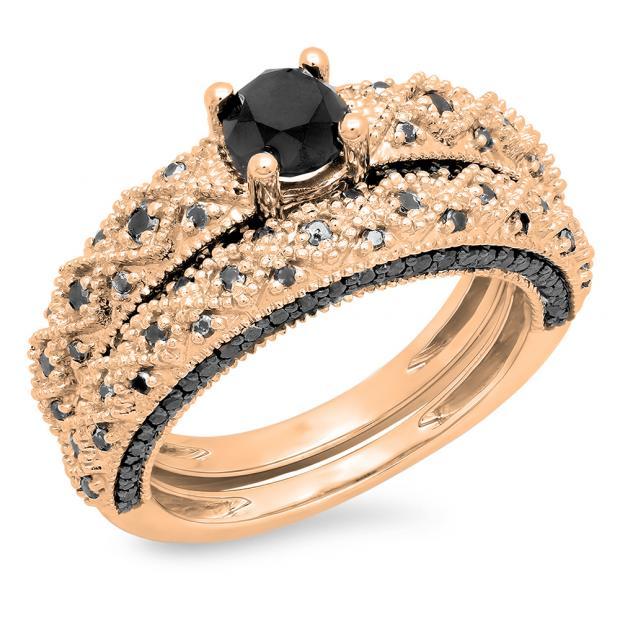1.45 Carat (ctw) 10K Rose Gold Round Cut Black Diamond Ladies Bridal Vintage Style Engagement Ring With Matching Band Set 1/2 CT