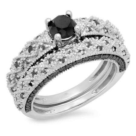 1.45 Carat (ctw) 10K White Gold Round Cut Black Diamond Ladies Bridal Vintage Style Engagement Ring With Matching Band Set 1 1/2 CT