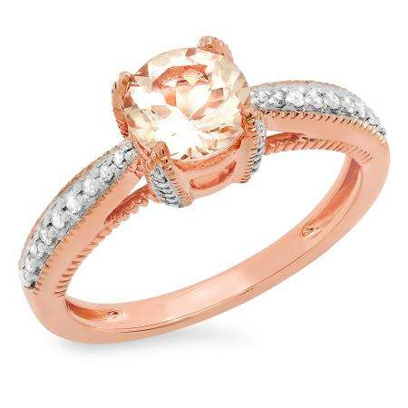 1.15 Carat (ctw) 10K Rose Gold Round Cut Morganite & White Diamond Ladies Bridal Solitaire With Accents Engagement Ring