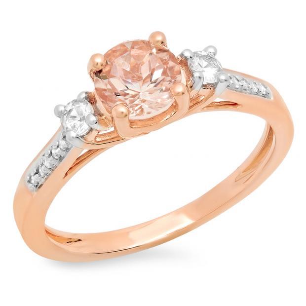 1.00 Carat (ctw) 14K Rose Gold Round Cut Morganite, White Sapphire & White Diamond Ladies Bridal 3 Stone Engagement Ring 1 CT