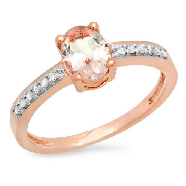0.75 Carat (ctw) 10K Rose Gold Oval Cut Morganite & Round Cut White Diamond Ladies Bridal Engagement Promise Ring 3/4 CT