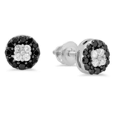 0.35 Carat (ctw) 14K White Gold Real Round Cut Black & White Diamond Ladies Cluster Style Stud Earrings 1/3 CT