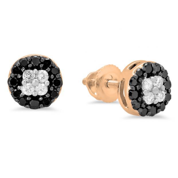 0.35 Carat (ctw) 18K Rose Gold Real Round Cut Black & White Diamond Ladies Cluster Style Stud Earrings 1/3 CT