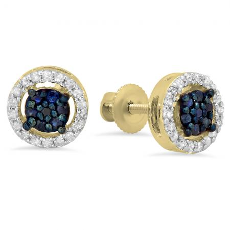 0.30 Carat (ctw) 10K Yellow Gold Blue Sapphire & White Diamond Ladies Cluster Stud Earrings 1/3 CT