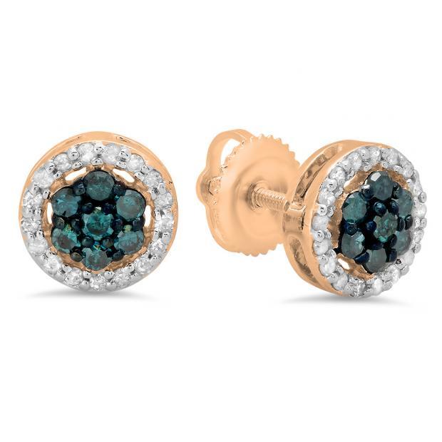 0.45 Carat (ctw) 14K Rose Gold Blue & White Diamond Ladies Cluster Flower Stud Earrings 1/2 CT