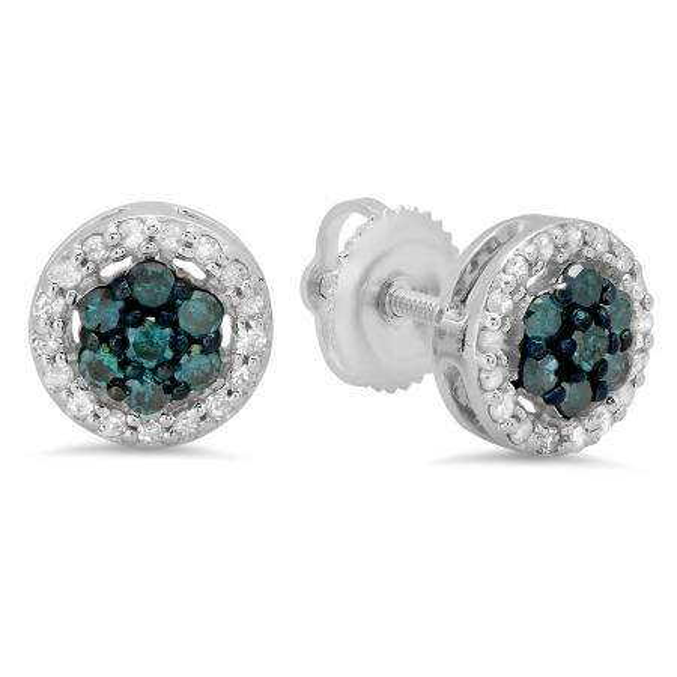 0.45 Carat (ctw) 18K White Gold Blue & White Diamond Ladies Cluster Flower Stud Earrings 1/2 CT