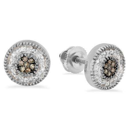 0.10 Carat (ctw) 10K White Gold Round Cut Champagne & White Diamond Cluster Stud Earrings