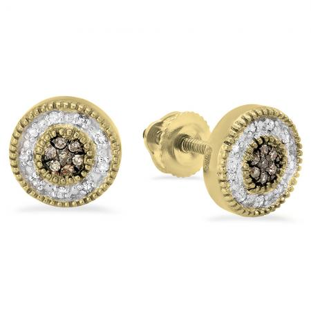 0.10 Carat (ctw) 18K Yellow Gold Round Cut Champagne & White Diamond Cluster Stud Earrings