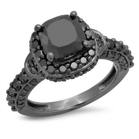 4.40 Carat (ctw) Black Rhodium Plated Sterling Silver Cushion & Round Black Diamond Ladies Halo Style Bridal Engagement Ring