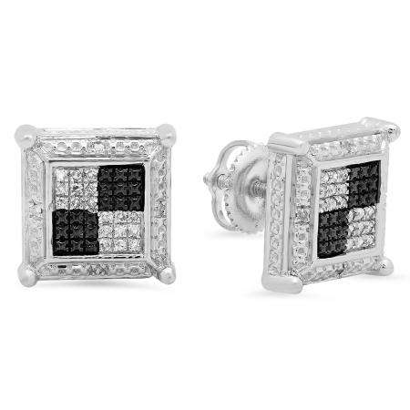 0.15 Carat (ctw) Sterling Silver Round White Diamond Prong Set Square Shaped Stud Earrings