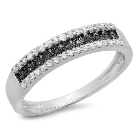 0.25 Carat (ctw) Sterling Silver Round Black & White Diamond Ladies Anniversary Wedding Band Stackable Ring
