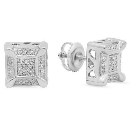 0.15 Carat (ctw) Sterling Silver Round White Diamond Micro Pave Fashion Square Shape Stud Earrings