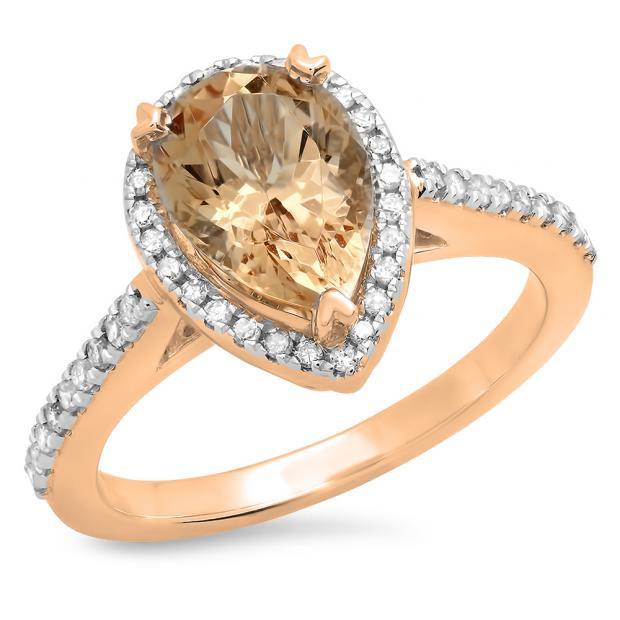 2.20 Carat (ctw) 18K Rose Gold Pear Cut Morganite & Round Cut White Diamond Ladies Bridal Halo Engagement Ring