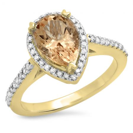2.20 Carat (ctw) 18K Yellow Gold Pear Cut Morganite & Round Cut White Diamond Ladies Bridal Halo Engagement Ring