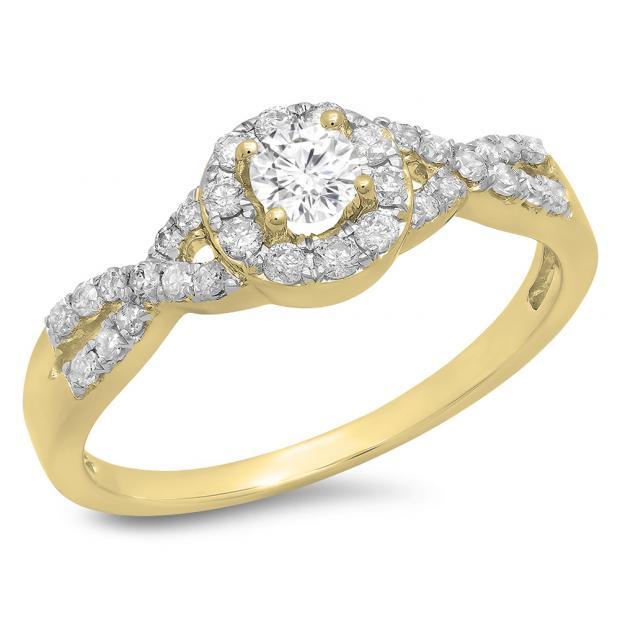 0.50 Carat (ctw) 10K Yellow Gold Round Diamond Ladies Engagement Halo Style Swirl Split Shank Bridal Ring 1/2 CT
