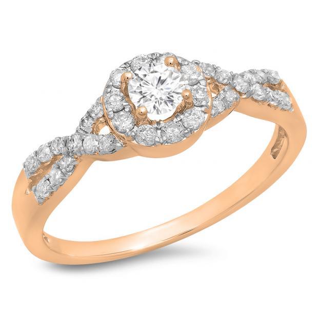 0.50 Carat (ctw) 18K Rose Gold Round Diamond Ladies Engagement Halo Style Swirl Split Shank Bridal Ring 1/2 CT