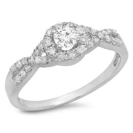 0.50 Carat (ctw) 18K White Gold Round Diamond Ladies Engagement Halo Style Swirl Split Shank Bridal Ring 1/2 CT