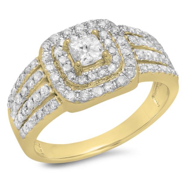 1.00 Carat (ctw) 14K Yellow Gold Princess & Round Cut Diamond Ladies Split Shank Bridal Halo Engagement Ring 1 CT