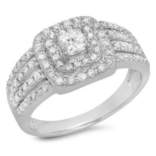 1.00 Carat (ctw) 18K White Gold Princess & Round Cut Diamond Ladies Split Shank Bridal Halo Engagement Ring 1 CT