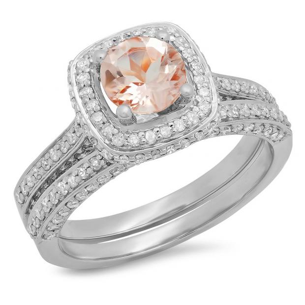 1.50 Carat (ctw) 14K White Gold Round Cut Morganite & White Diamond Ladies Bridal Split Shank Halo Engagement Ring With Matching Band Set 1 1/2 CT