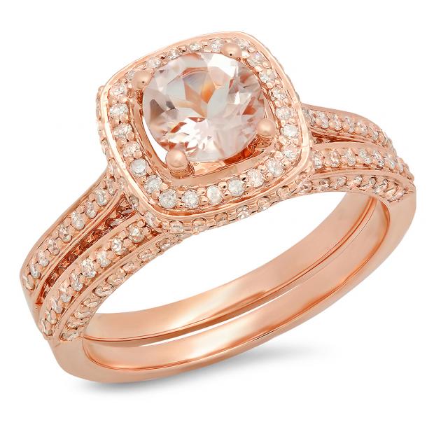 1.50 Carat (ctw) 18K Rose Gold Round Cut Morganite & White Diamond Ladies Bridal Split Shank Halo Engagement Ring With Matching Band Set 1 1/2 CT