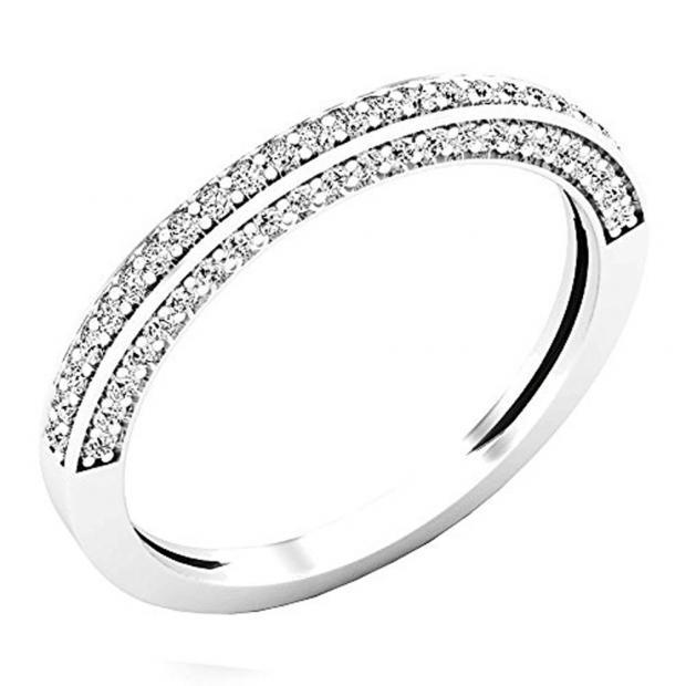 0.32 Carat (ctw) 10K White Gold Round White Diamond Ladies Bridal Wedding Band 1/3 CT