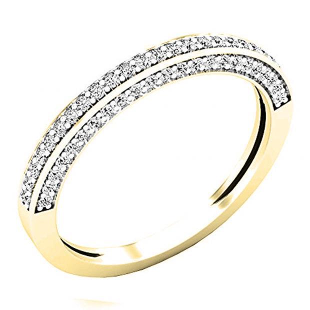 0.32 Carat (ctw) 10K Yellow Gold Round White Diamond Ladies Bridal Wedding Band 1/3 CT