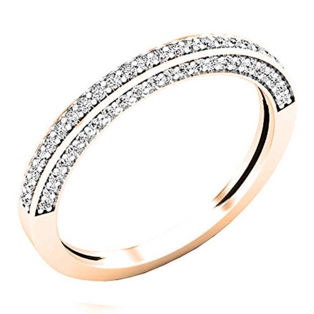 0.32 Carat (ctw) 14K Rose Gold Round White Diamond Ladies Bridal Wedding Band 1/3 CT