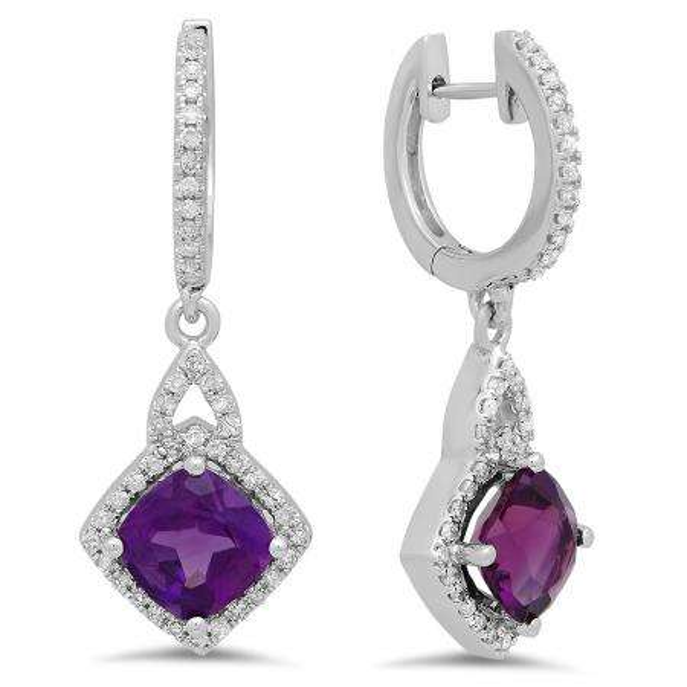 2.85 Carat (ctw) 10K White Gold Cushion Amethyst & Round Diamond Ladies Halo Style Dangling Drop Earrings