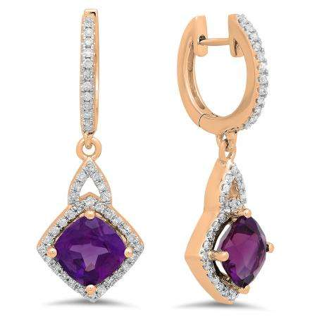 2.85 Carat (ctw) 14K Rose Gold Cushion Amethyst & Round White Diamond Ladies Halo Style Dangling Drop Earrings
