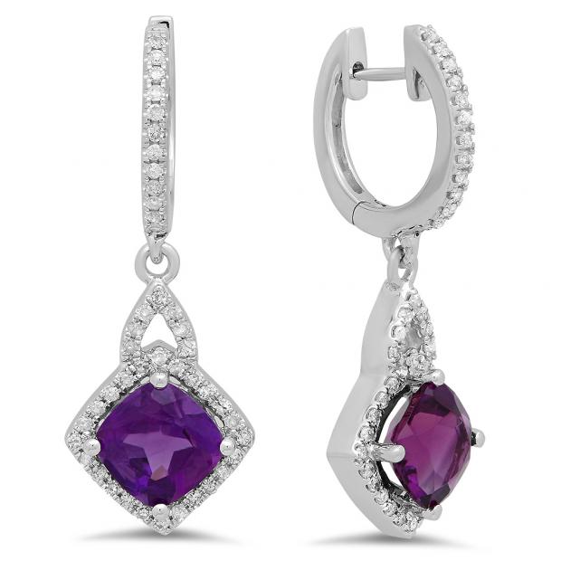 2.85 Carat (ctw) 18K White Gold Cushion Amethyst & Round White Diamond Ladies Halo Style Dangling Drop Earrings