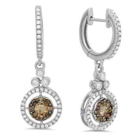 0.80 Carat (ctw) 18K White Gold Round Champagne & White Diamond Ladies Halo Style Dangling Drop Earrings 3/4 CT