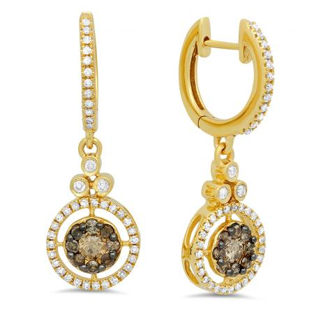 0.80 Carat (ctw) 18K Yellow Gold Round Champagne & White Diamond Ladies Halo Style Dangling Drop Earrings 3/4 CT