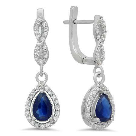 1.30 Carat (ctw) 14K White Gold Pear Cut Blue Sapphire & Round Cut White Diamond Ladies Halo Style Dangling Drop Earrings
