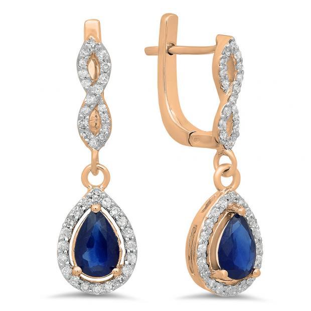 1.30 Carat (ctw) 18K Rose Gold Pear Cut Blue Sapphire & Round Cut White Diamond Ladies Halo Style Dangling Drop Earrings