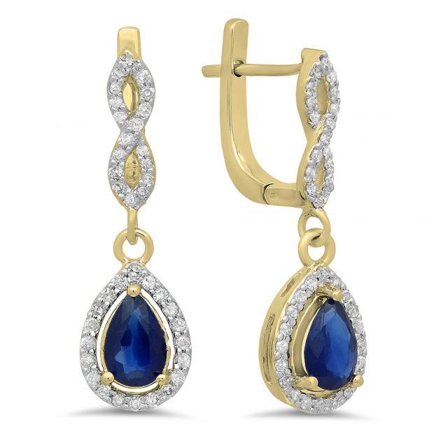 1.30 Carat (ctw) 18K Yellow Gold Pear Cut Blue Sapphire & Round Cut White Diamond Ladies Halo Style Dangling Drop Earrings