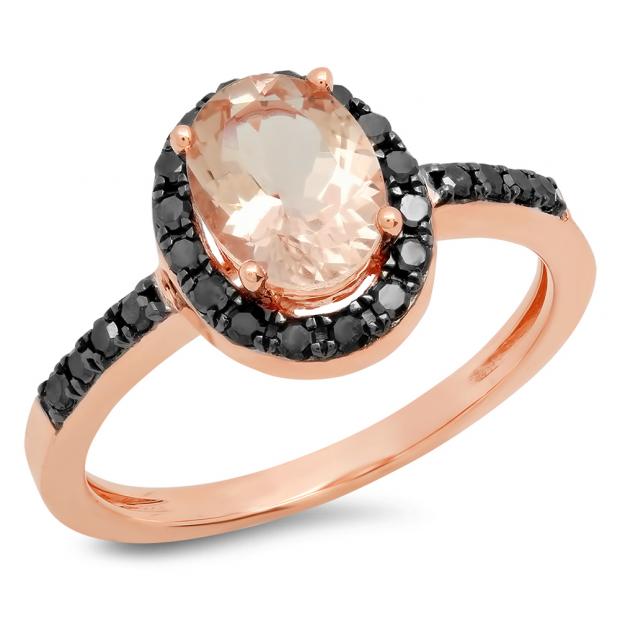 1.50 Carat (ctw) 14K Rose Gold Oval Cut Morganite & Round Black Diamond Ladies Halo Bridal Engagement Ring 1 1/2 CT
