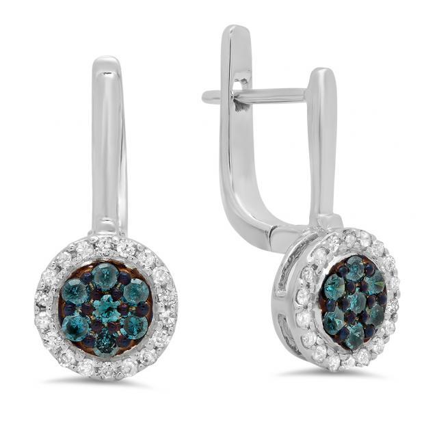 0.35 Carat (ctw) 10K White Gold Round Blue & White Diamond Ladies Fine Halo Hoop Earrings 1/3 CT