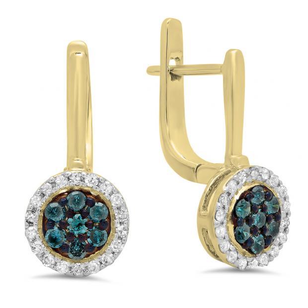 0.35 Carat (ctw) 14K Yellow Gold Round Blue & White Diamond Ladies Fine Halo Hoop Earrings 1/3 CT