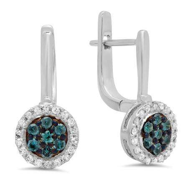 0.35 Carat (ctw) 18K White Gold Round Blue & White Diamond Ladies Fine Halo Hoop Earrings 1/3 CT