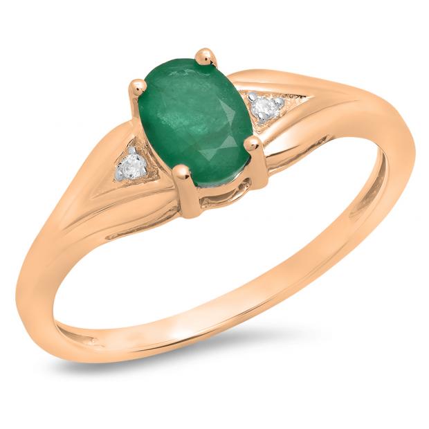 0.85 Carat (ctw) 10K Rose Gold Oval Emerald & Round White Diamond Ladies Bridal Engagement Ring