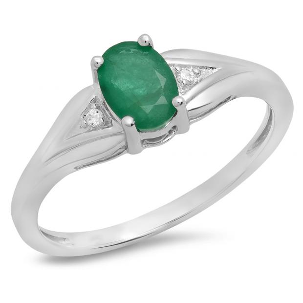 0.85 Carat (ctw) 14K White Gold Oval Emerald & Round White Diamond Ladies Bridal Engagement Ring